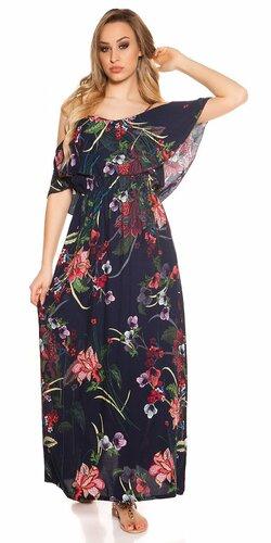 Letné šaty s kvetinovou potlačou Tmavomodrá