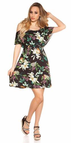 Mini letné šaty s kvetinovou potlačou Čierna