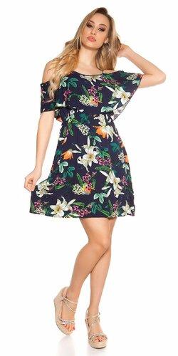 Mini letné šaty s kvetinovou potlačou Tmavomodrá
