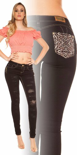 Čierne push-up úzke džínsy s leopardími vzormi Čierna
