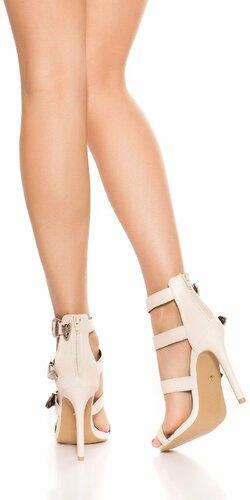 Sandále s remienkami na vysokom podpätku Béžová