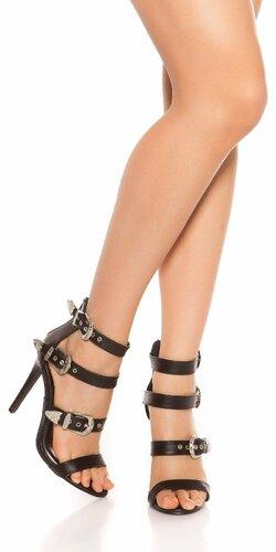 Sandále s remienkami na vysokom podpätku Čierna