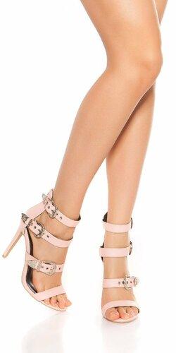 Sandále s remienkami na vysokom podpätku Bledá ružová