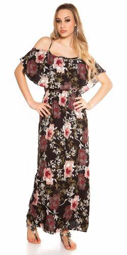 Dlhé kvetinové šaty Čierna