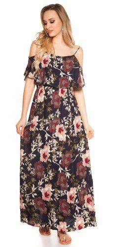 Dlhé kvetinové šaty Tmavomodrá