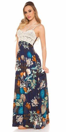 Háčkované maxi šaty s kvetinovým vzorom