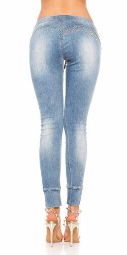 Svetlé džínsy so šnurovaním Modrá