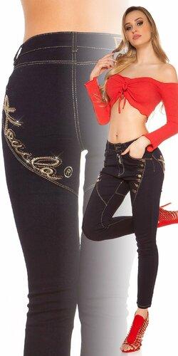 KouCla džínsy s dekoratívnymi gombíkmi Tmavomodrá