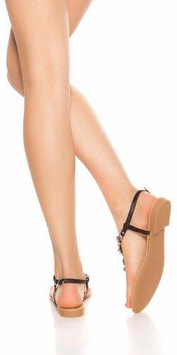 Kamienkové letné sandále Čierna