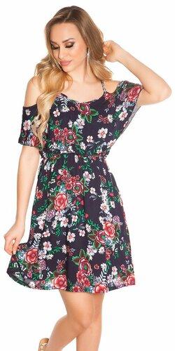 Kvetinové letné mini šaty Tmavomodrá