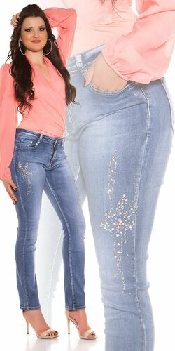 Moletkovské džínsy s kamienkami a perličkami | Modrá