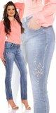 Moletkovské džínsy s kamienkami a perličkami Modrá