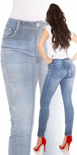 Moletkosvké slim džínsy s kamienkami | Modrá