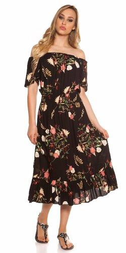Kvetinové letné midi šaty Čierna