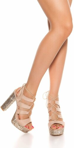 Flitrované sandále na vysokom hrubom podpätku | Béžová