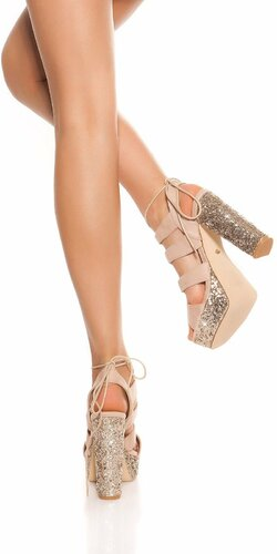 Flitrované sandále na vysokom hrubom podpätku Béžová