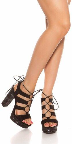 Flitrované sandále na vysokom hrubom podpätku | Čierna