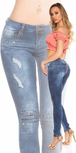 Dámske značkové džínsy s rozparkami a ozdobnými kamienkami Modrá