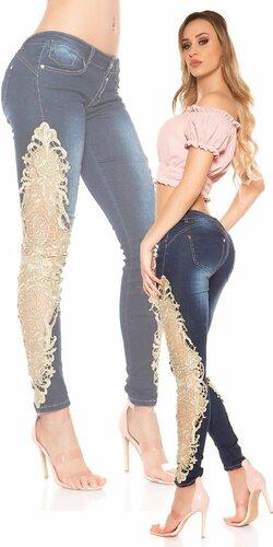 Dámske úzke džínsy so zlatou čipkou KouCla | Modrá