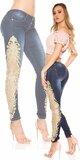 Dámske úzke džínsy so zlatou čipkou KouCla Modrá
