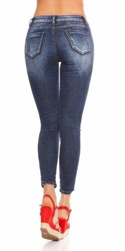 Bedrové džíny s písmenami Modrá