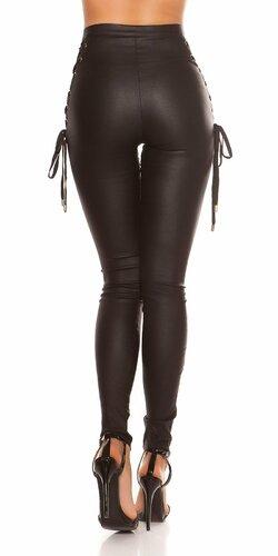 Kožené nohavice s vysokým pásom a šnurovačkou Čierna