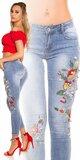 Dámske džíny s kvetinami Modrá