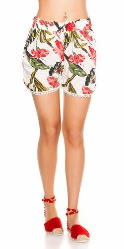 Kvetinové šortky | Biela
