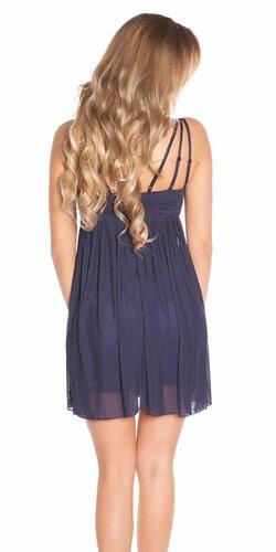 Mini šaty s perličkovým dekoltom Tmavomodrá