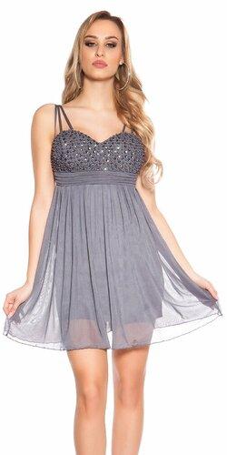 Mini šaty s perličkovým dekoltom | Šedá