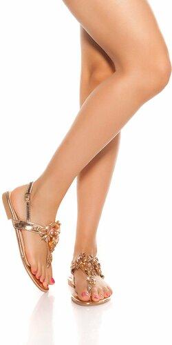 Prstové sandálky s veľkými kamienkami | Zlatá