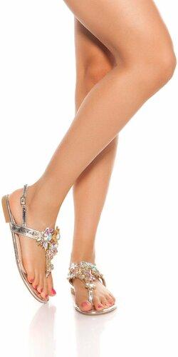 Prstové sandálky s veľkými kamienkami | Strieborná