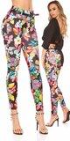 Kvetinové nohavice s opaskom Čierna