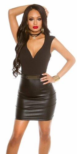 Sexy KouCla mini šaty so sukňou koženého vzhľadu | Čierna