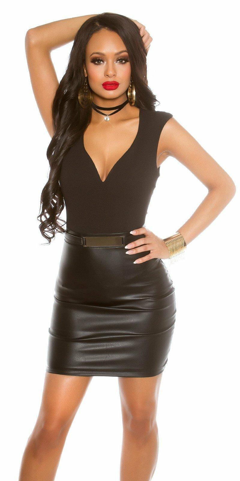 Sexy KouCla mini šaty so sukňou koženého vzhľadu  Veľkosť XL Farba Čierna 5cf8661185