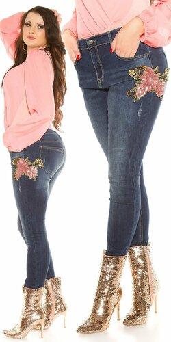 Moletkovské džínsy s kvetinami | Modrá