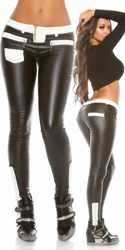Dámske nohavice ,,leather look,, | Čierna