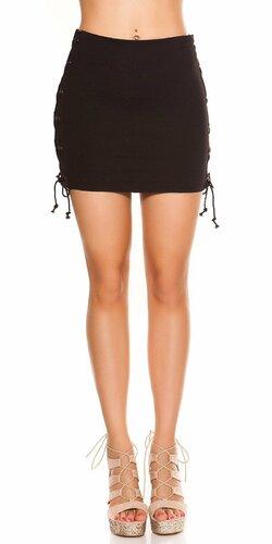 Mini sukňa so šnurovaním Čierna