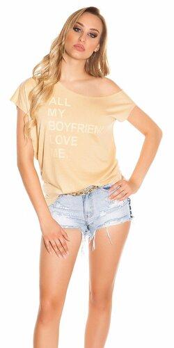 Dámske tričko ,,All my boyfriends love me,, | Béžová