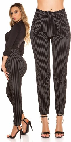 Pásikavé biznis nohavice | Čierna