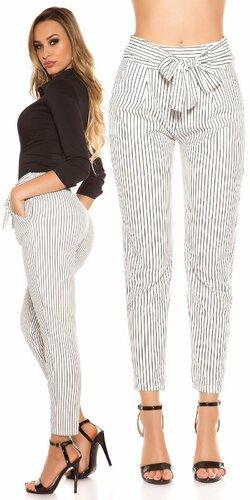 Pásikavé biznis nohavice | Biela