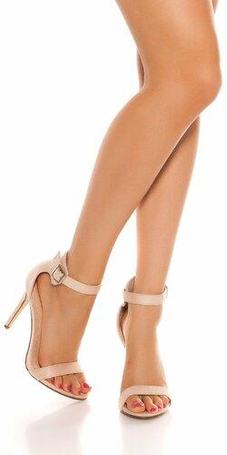 Sandále s remienkom na vysokom podpätku | Béžová
