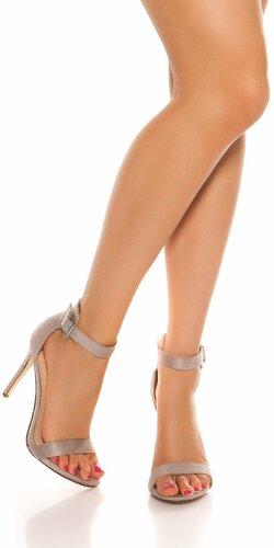 Sandále s remienkom na vysokom podpätku | Šedá