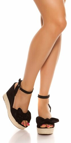 Sandále na platforme s mašľou