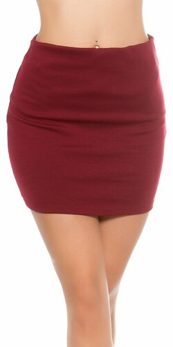 Mini sukňa s elastickým pásom Bordová
