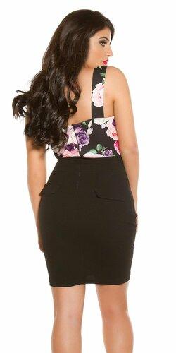 Puzdrové šaty s kvetinovou potlačou Čierna