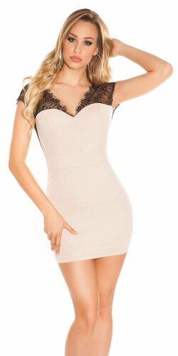 Mini šaty s čipkou a odhaleným chrbátom | Béžová
