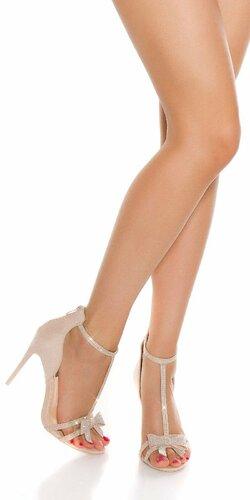 Kamienkové sandálky s mašľou Béžová