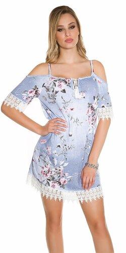 Letné šaty s bielou výšivkou Modrá