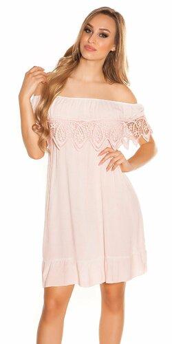 Letné šaty s výšivkou | Bledá ružová